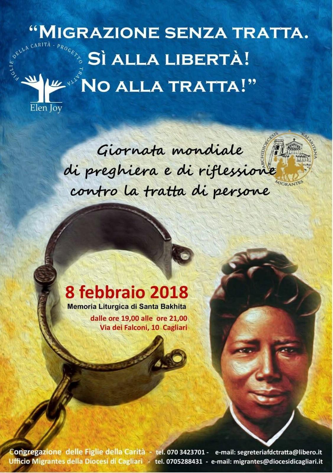 Locandina Giornata internazionale contro la tratta 8Feb 2018